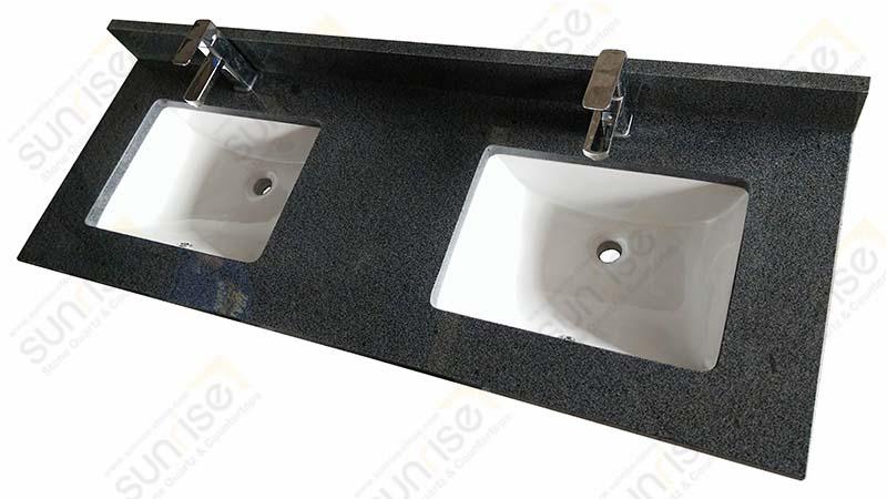 Impala Black Double Sink Vanity Top