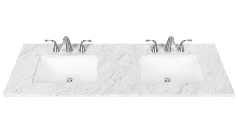 Jazz White Double Bowl Vanity Top