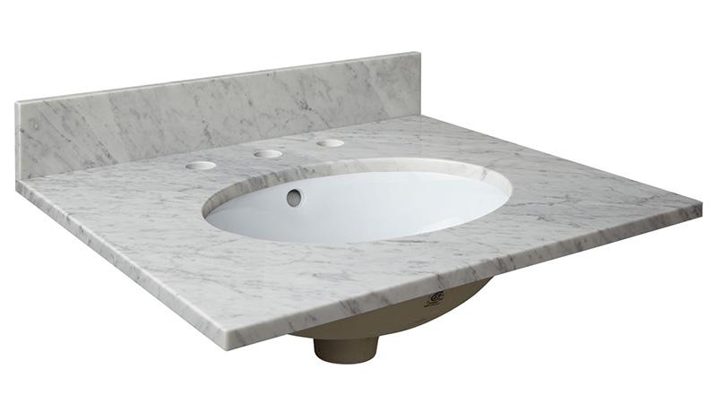 "Carrara White 25"" Marble Vanity"